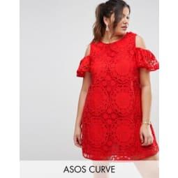 ASOS CURVE - Schulterfreies Spitzenkleid - Rot