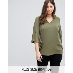Lovedrobe - Bluse mit V-Ausschnitt und Wasserfalldesign hinten - Grün