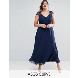 ASOS CURVE - Kate - Maxikleid aus Spitze - Navy