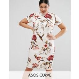 ASOS CURVE - Figurbetontes, mit Blumen bedrucktes T-Shirt-Kleid - Mehrfarbig