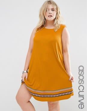ASOS CURVE - Ausgestelltes Sommerkleid aus Rippstrick mit Paspelierung - Rostrot