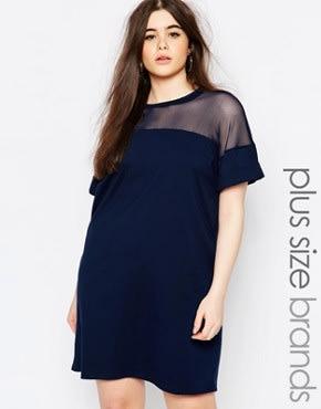 Missguided Plus - T-Shirt-Kleid mit Netzstoffeinsatz - Marineblau