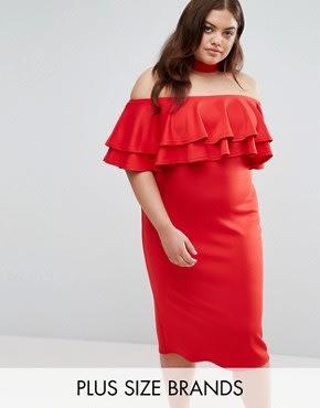 Club L Plus - Bardot-Kleid mit Rüschen und Halsband - Rot