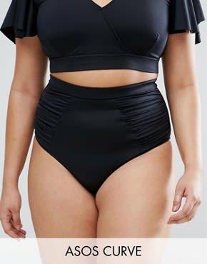 ASOS CURVE - Bikinihose mit hoher Taille - Schwarz