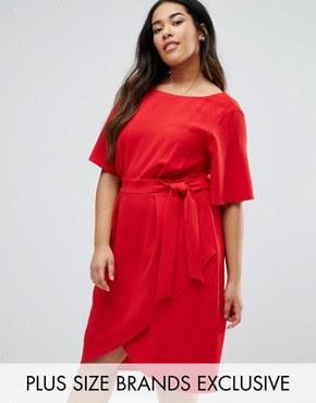 Closet Plus - Kleid mit Wickeldesign vorne - Rot