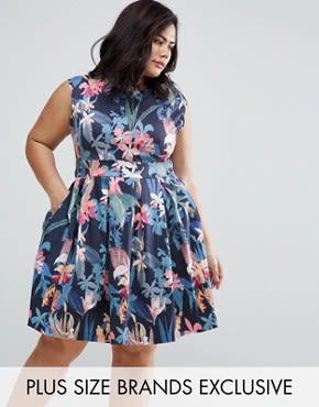 Closet Plus - Skaterkleid mit Blumenmuster - Mehrfarbig