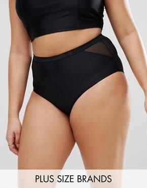 Junarose - Bikinihose mit Netzstoffeinsatz - Schwarz