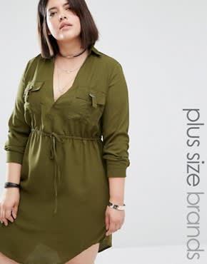 Missguided Plus - Hemdkleid mit V-Ausschnitt und Kordelzug - Grün