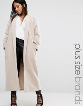 Missguided Plus - Langer Mantel mit Schalkragen - Beige