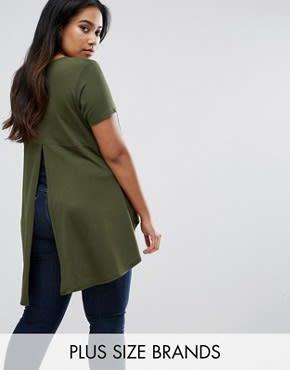 AX Paris Plus - T-Shirt mit abfallendem Saum - Grün