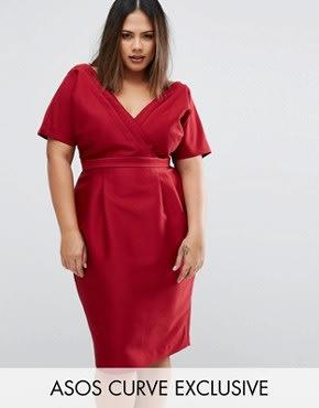 ASOS CURVE - Kleid in Wickeloptik mit Niernähten - Rot