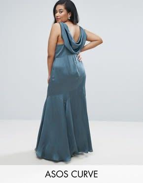 ASOS CURVE WEDDING - Hochwertiges Maxikleid mit Wasserfallausschnitt hinten - Blau