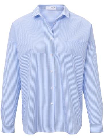 Bluse, legerer und längerer Hemdblusen-Schnitt Looxent blau