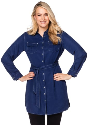 Style Hemdblusenkleid mit Bindegürtel, nachtblau, Gr.40-56
