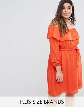 Lovedrobe - Schulterfreies Rüschenkleid - Orange