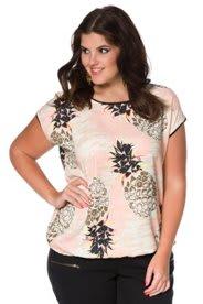 Ulla Popken Blusentop, bedruckt mit Ananas-Muster, überschnittene Schultern, Jersey-Kanten, Gummibund am Saum - Große Größen