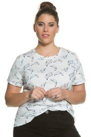Ulla Popken T-Shirt, Bananen-Print, Slim, reine Baumwolle - Große Größen