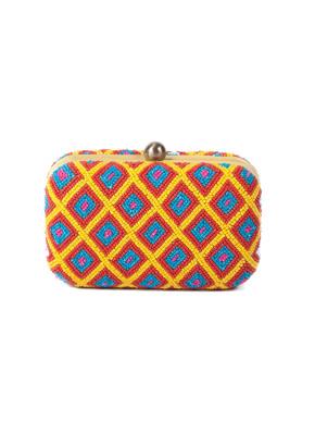 Geometric beadwork box clutch