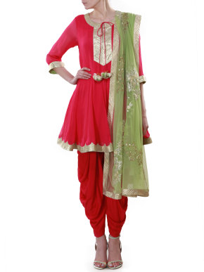Red suit with green dupatta