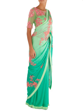 Shaded green and blue saree with blouse