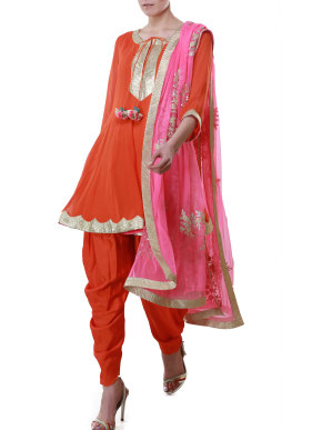 Orange suit with pink dupatta