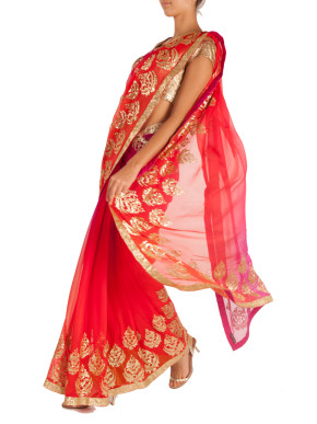 Shaded pink and orange chiffon saree