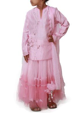 Long Sleeve pink tutu lehenga