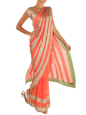 Orange cocktail saree