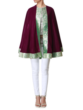 Maroon cape with green border
