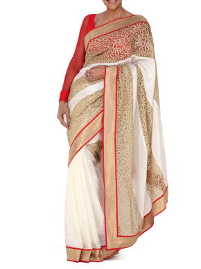 Sequin embellished red and white cocktail saree