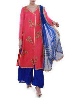 Pink and Blue Sharara Suit