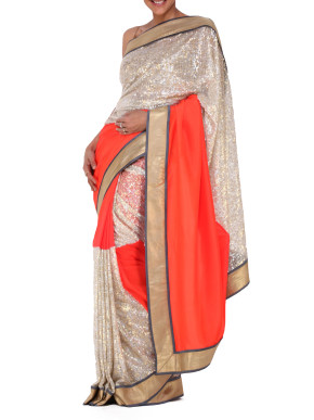 Sequinned orange and silver saree