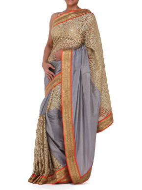 Grey and gold embellished silk saree