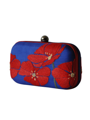 Red flower embroidered clutch