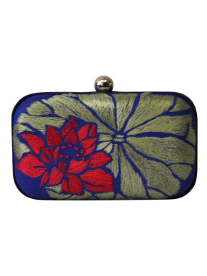 Red and gold Lotus clutch