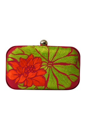 Green and orange lotus clutch
