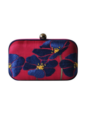 Four flower Pink and blue clutch