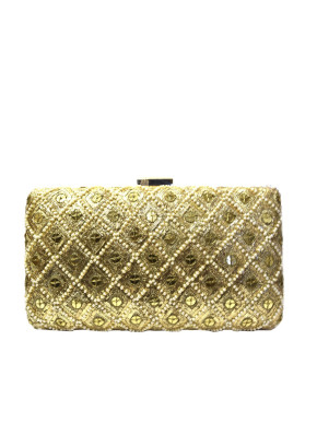 Gold envelope clutch with pearl strings