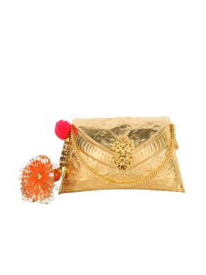 Gold and orange umbrella tassel clutch