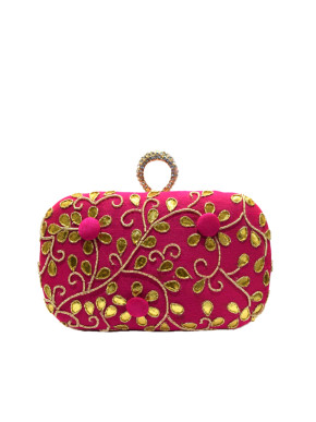 Pink ring clutch with gota work