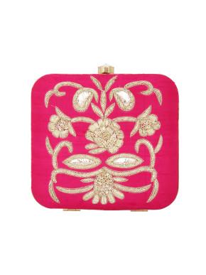 Pink Zardosi embroidered clutch
