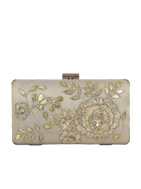 Cream silk clutch with zari flowers