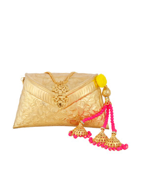 Gold clutch with neon pink bead strings' tassel
