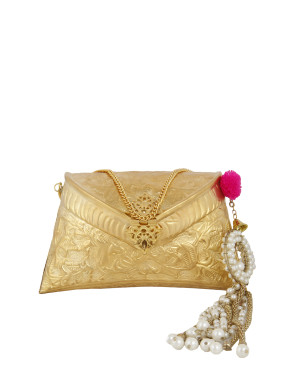 Gold clutch with laser cut pearl tassel