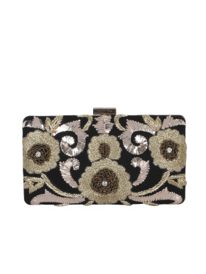 Suede clutch with mukeish and threadwork