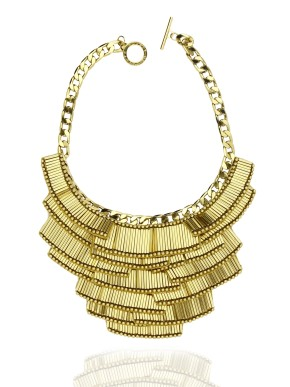 Art deco matchstick necklace in gold