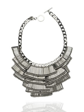 Art deco matchstick necklace in silver