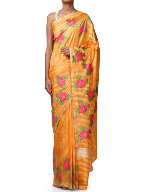 Saffron yellow saree with zari border