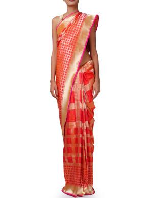 Flaming orange saree with zari border