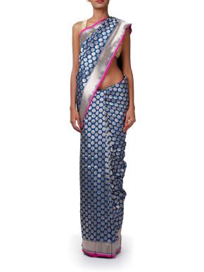 Grey blue saree with zari border